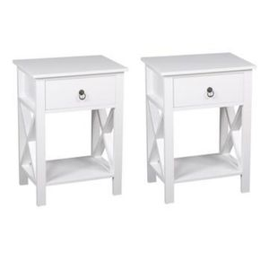 WHITE 2 TIER SINGLE DRAWER END TABLES
